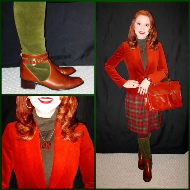 Boots Aigner Velvet Blazer Talbots Wool Turtleneck Eddie Bauer Skirt Lands End Thrifted Tortoise Monogram Pendant Tagged Designs Watch