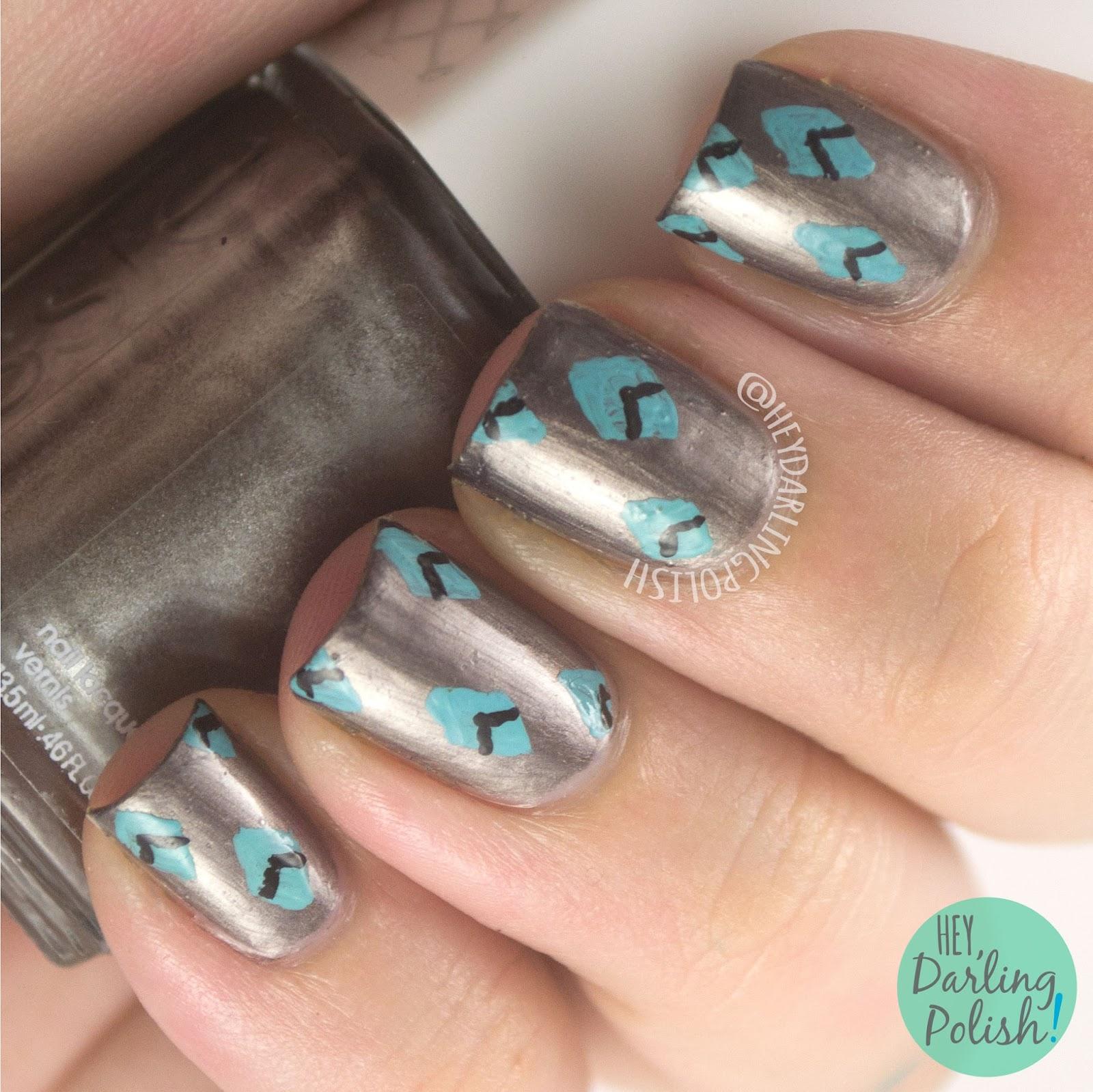 nails, nail art, nail polish, diamonds, pattern, hey darling polish, metallic, 31 day challenge, 31dc2014