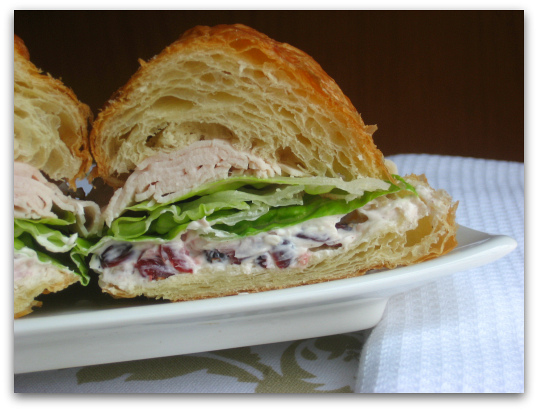 Turkey Croissant Sandiwch with Cranberry Cream Cheese Spread and Crisp Veggies