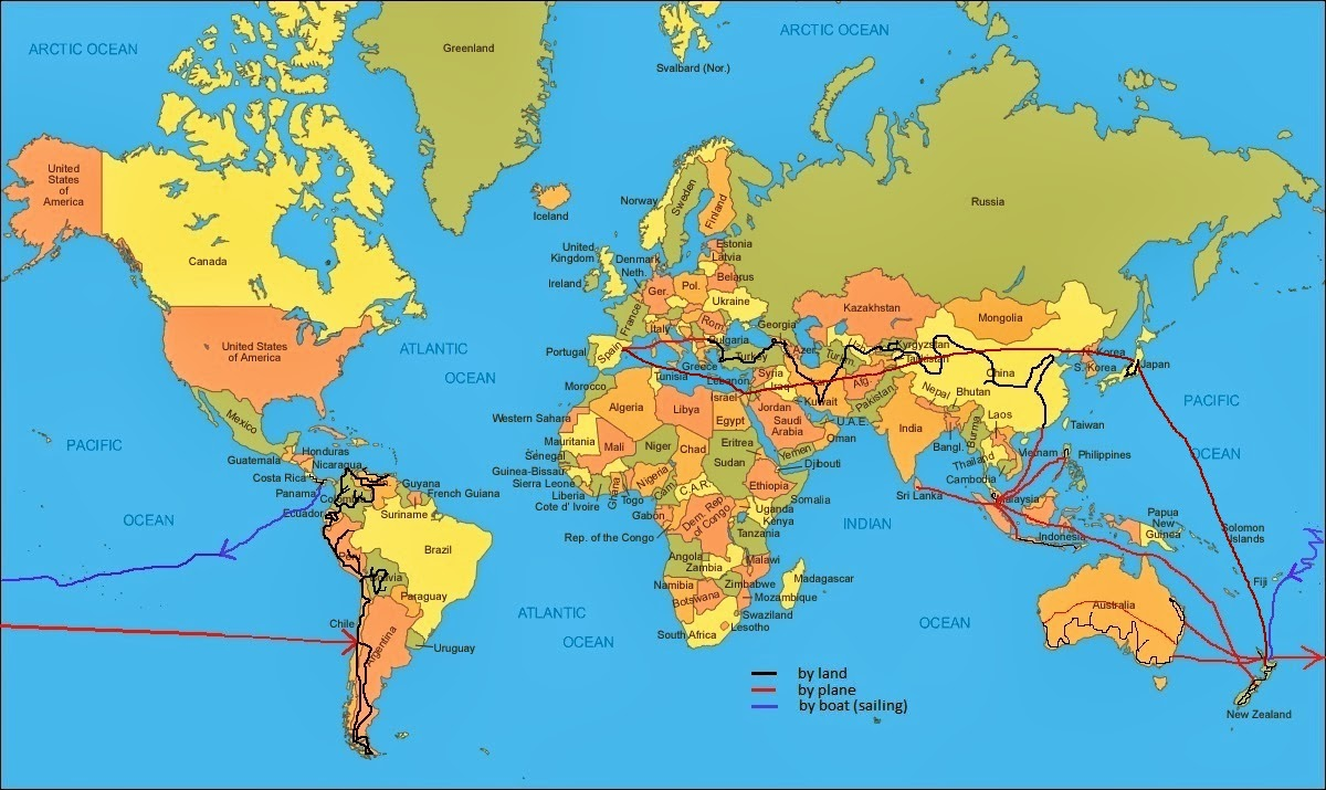 Gone with the backpack the route the route roughly on 25 years round the world gumiabroncs Gallery