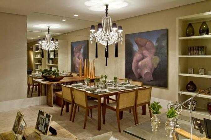 Tapete Sala De Jantar Mesa Redonda ~ Arquitetura Feminina Iluminação Sala de Jantar  Lustre e Pendente