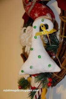 Boże Narodzenie zawieszka ozdoba materiałowa choinka serce bombki kokarda czerwona świąteczna
