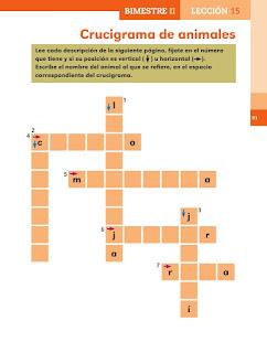 Apoyo Primaria Español 2do grado Bloque 2 lección 15 Crucigrama de animales