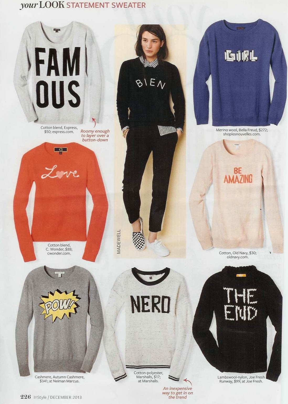 Express sweater, Express in magazine, Express in In Style magazine, Famous Sweater