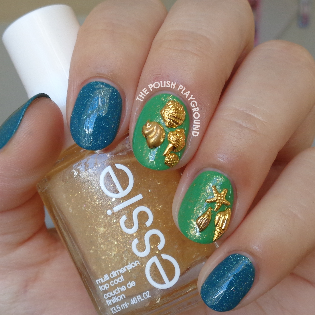 The Polish Playground Green Gold Flakie With Beach Themed Nail Studs
