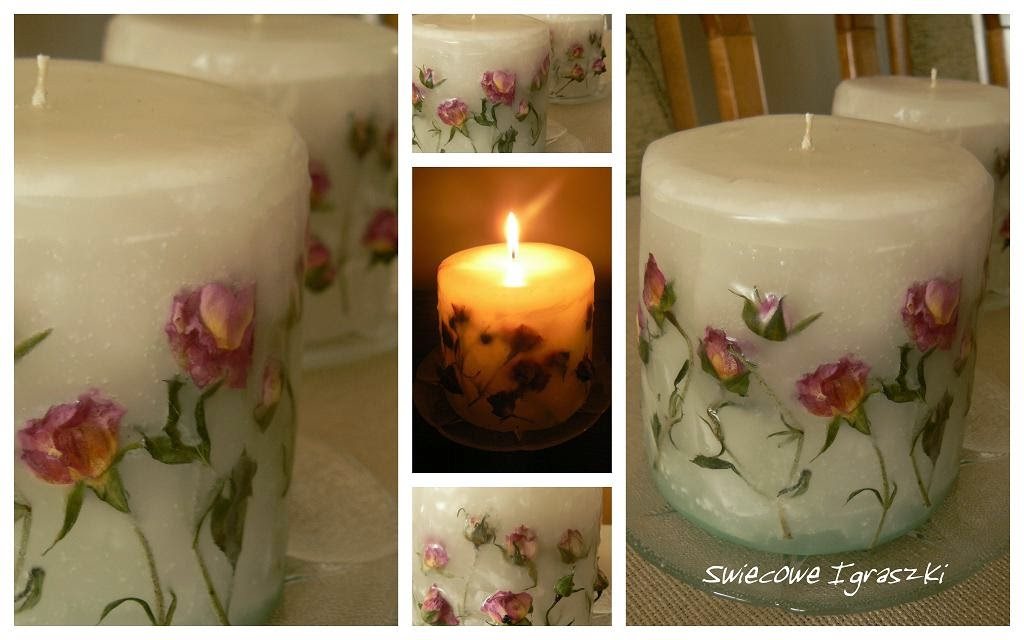 Candle with roses