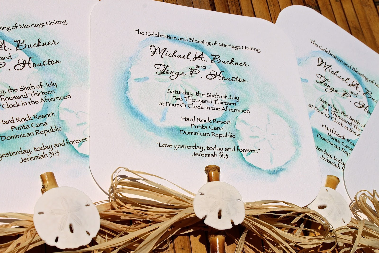 Beach Wedding Program Fans