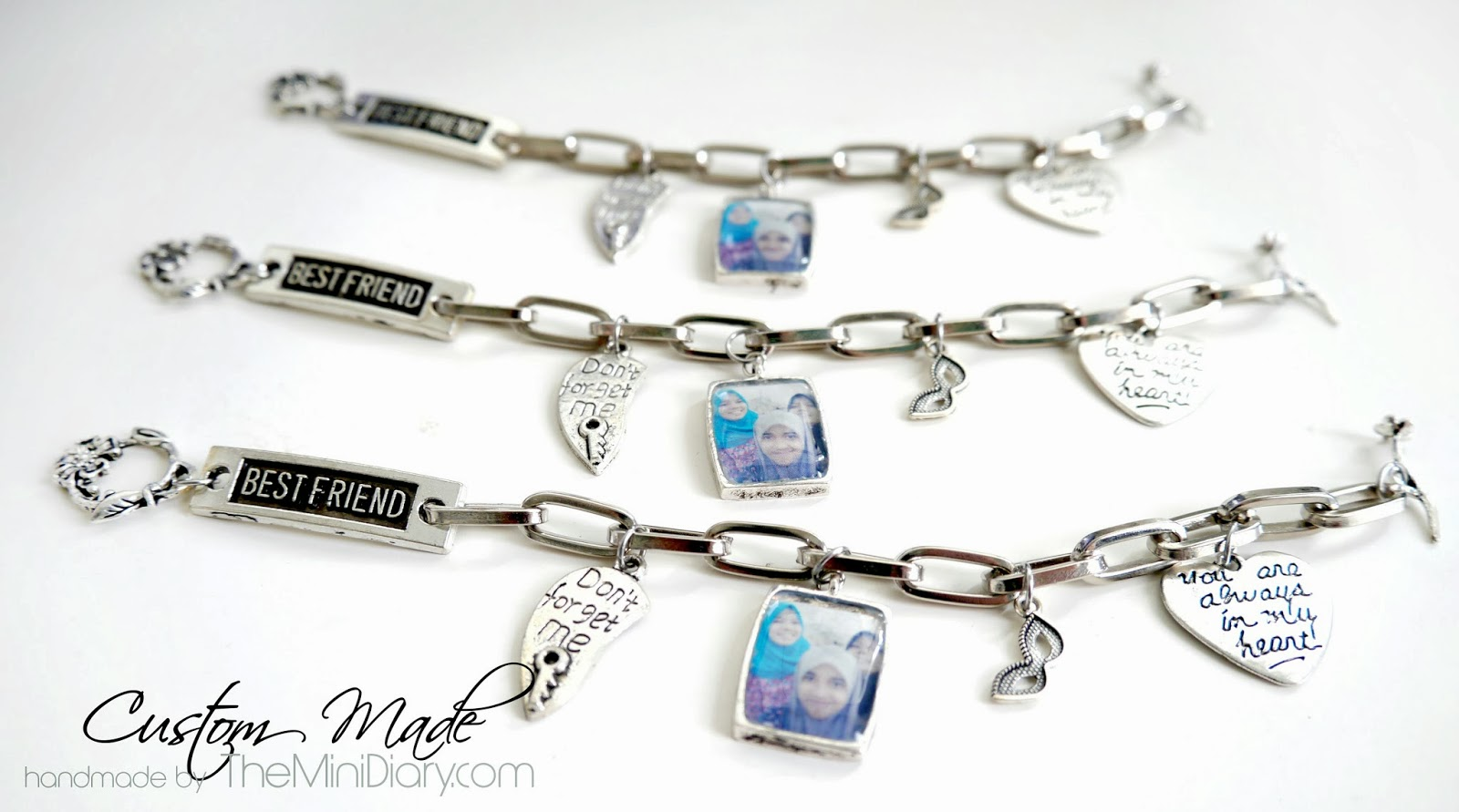 Here's A Set Of 3 Charm Bracelets For 3 Best Friends With A Custom Made  Photo Charm Of The 3 Of Them :) A Keepsake Bracelet To Be Treasured For A  Long Long