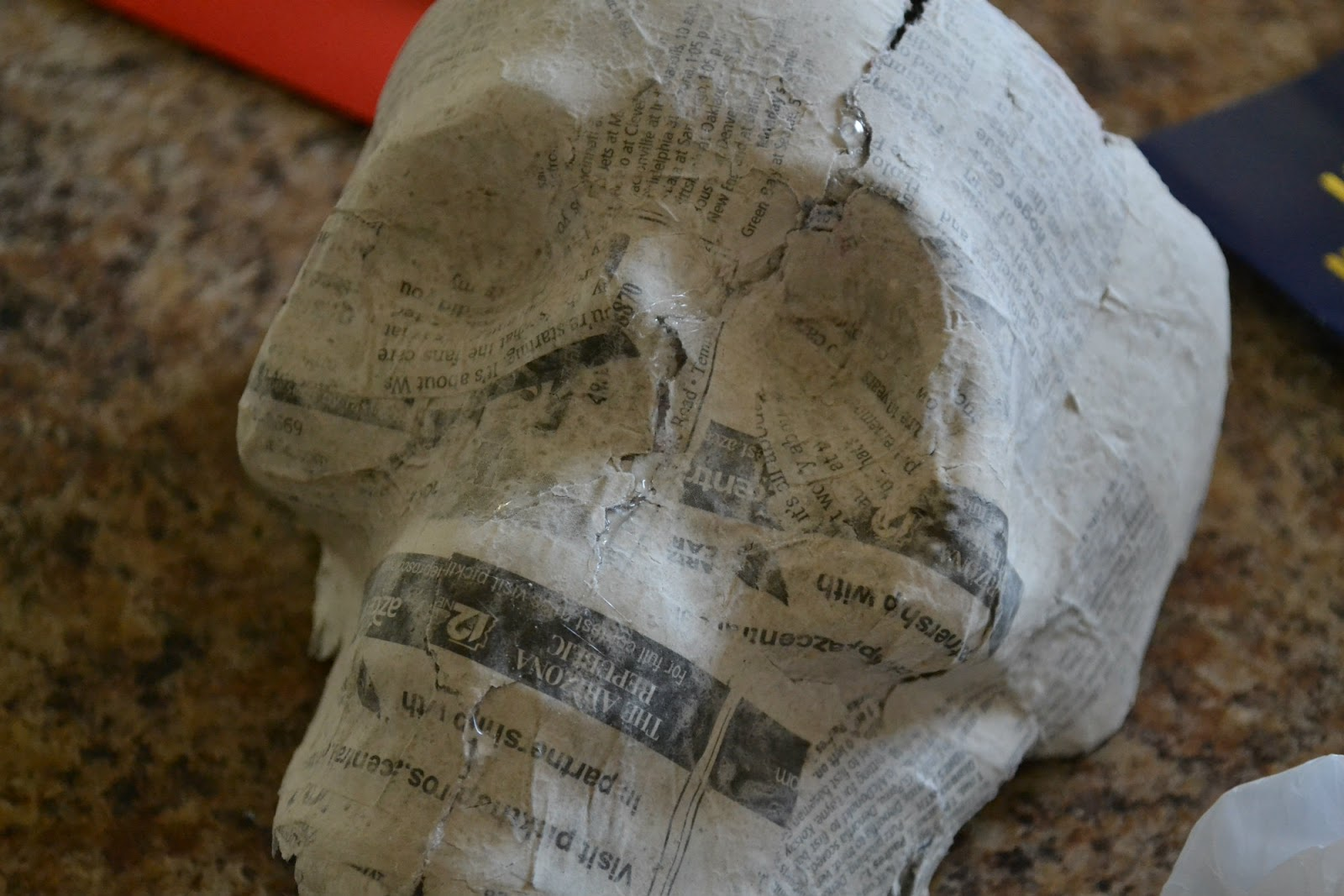 Bellapia designs paper mache skull of skeleton part 1 for Papier mache rocks