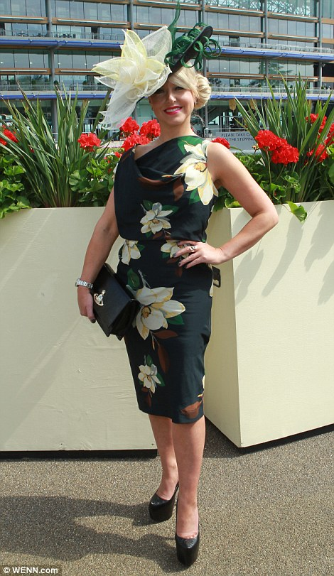 pretty lady in floral print dress and hat on Ladies' Day of Royal Ascot 2014