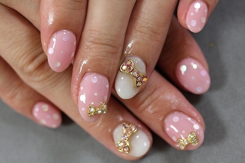 The Amusing Cute simple pink white nail art Digital Imagery