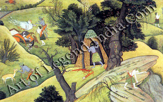 Rama and Lakshmana search everywhere for Sita; they come upon the dying Jatayu; after Jatayu death, in the far distance, they cremate him by the riverside and after fruits in bid memory.