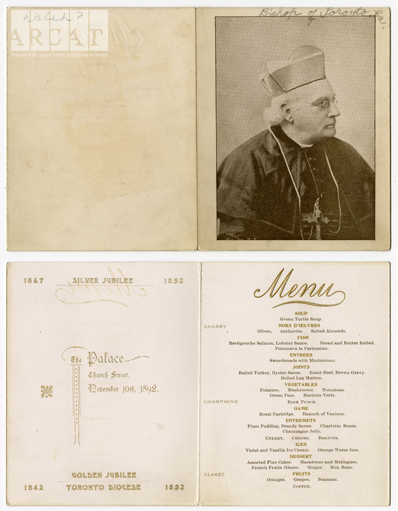 Menu for Archbishop Walsh's Silver Jubilee Banquet, held in 1892 at the Archbishop's Palace.