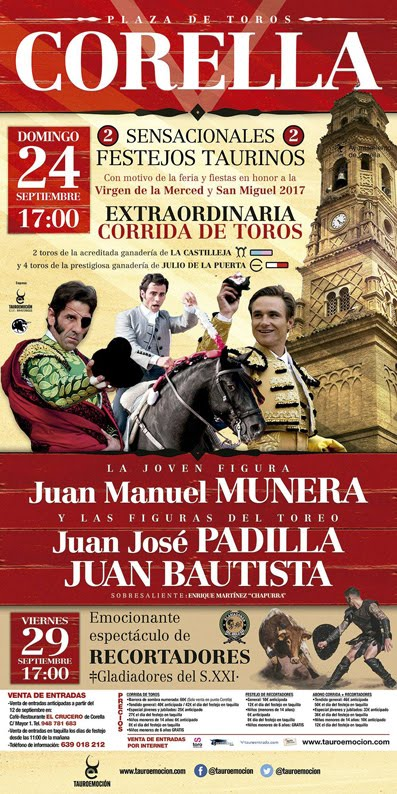 CORELLA (ESPAÑA) 24-09-2017. EXTRAORDINARIO CORRIDA DE TOROS.