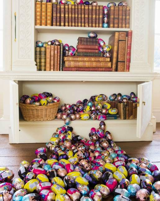 Easter Eggs in bookshelf
