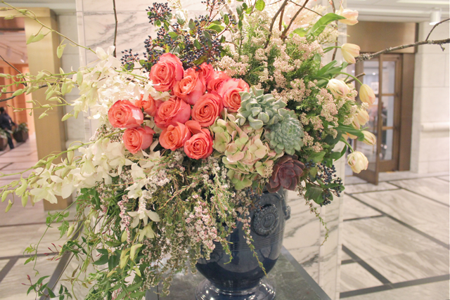 sweet pea floral design Detroit institute of art cobalt stone urn vase filled with hawaiian orchids, coral roses, privet berries parrot tulips rice flower, quince branches jasmine vine extra large floral design escort card table ceremony decor succulents blush pinks