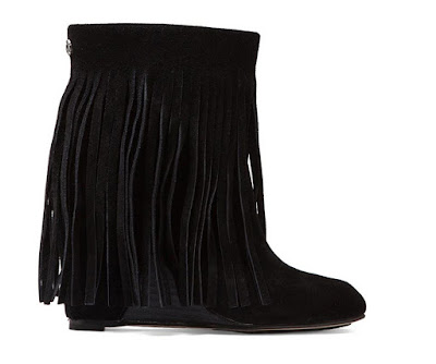 Koolaburra flat black suede ankle boots with fringe detail