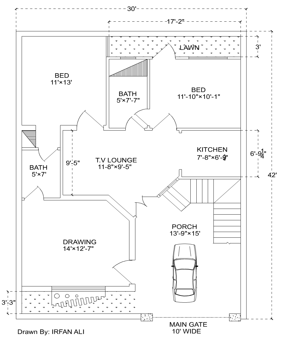 6 marla house plan 30 39 42 39 modern house plan for Room design map