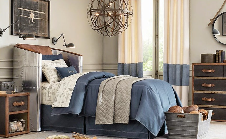 Traditional boys room decor ideas 2015, curved headboard and blue bedspreads
