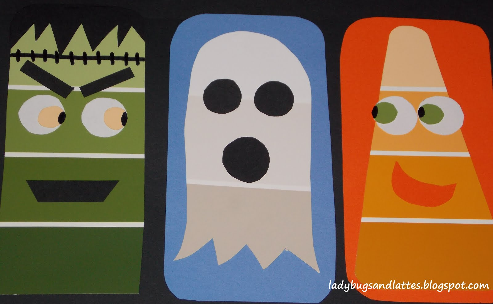 halloween cuttinggluing craft with paint chips