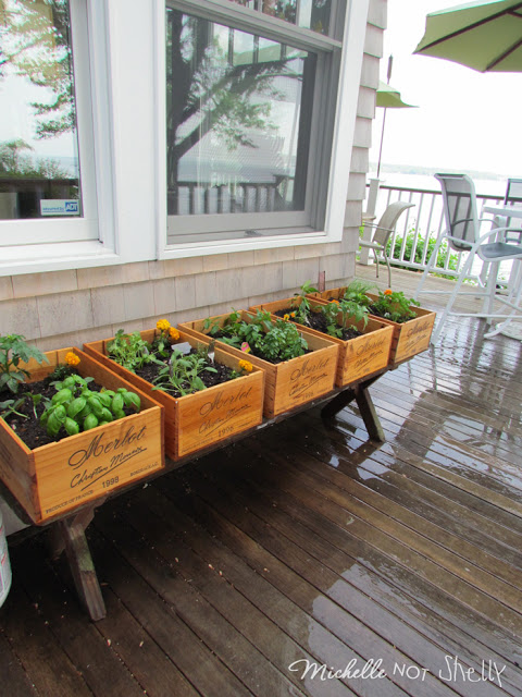 Michelle Of Miss Stitch A Wish Built An Amazing Herb Garden On Her Deck  With Old Wine Bottle Boxes. How Cute! She Even Stamped Old Silverware To  Use As ...