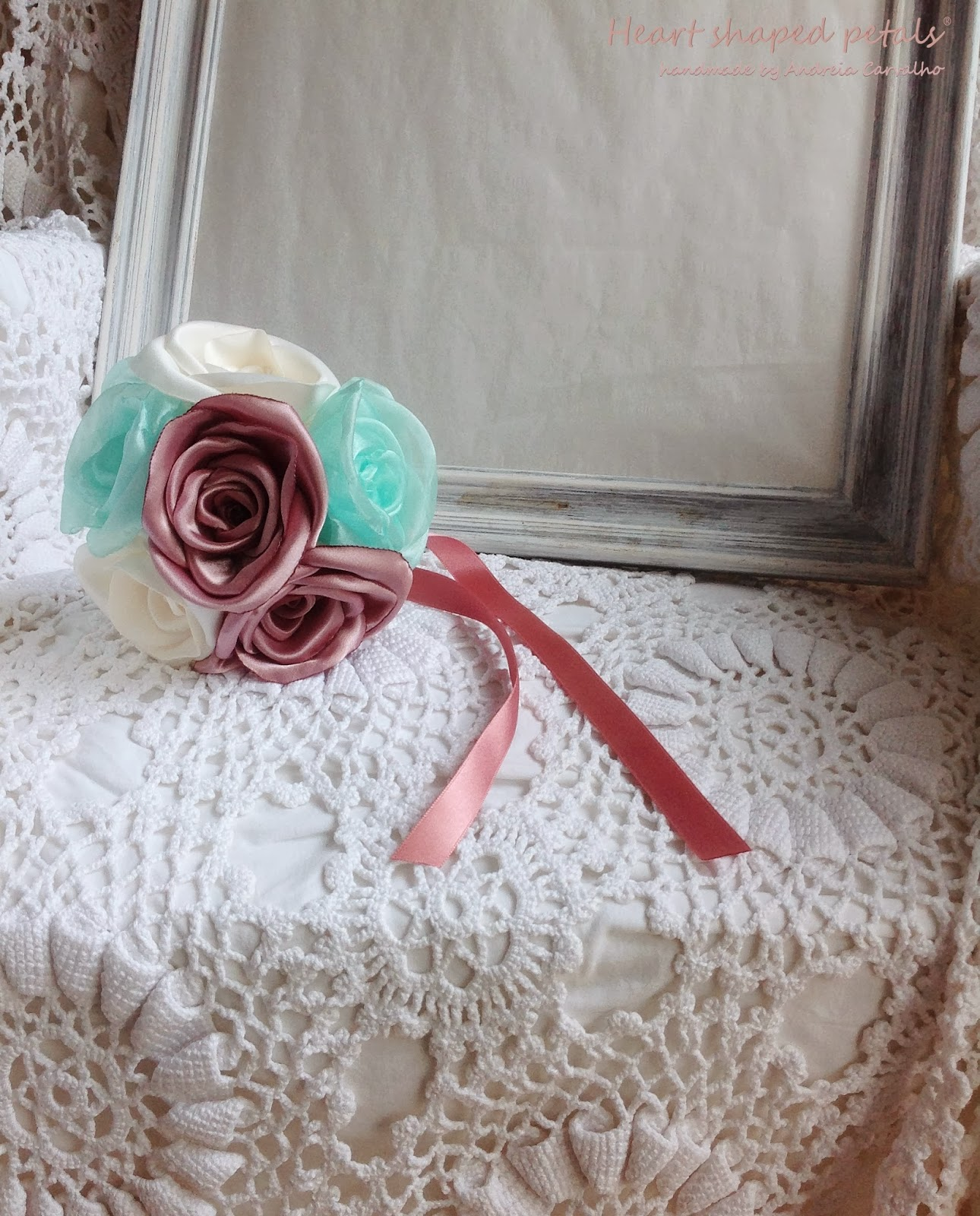 Toss bouquet fabric roses