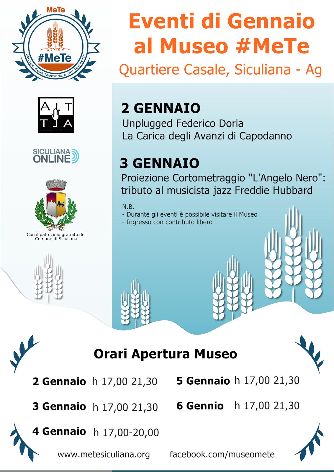 Eventi di Gennaio al Museo #MeTe. Quartiere Casale, Siculiana - Agrigento