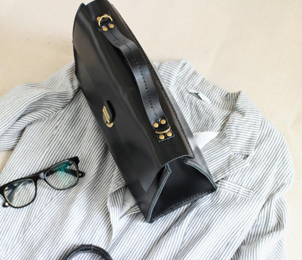 Кожаный саквояж необычной формы
