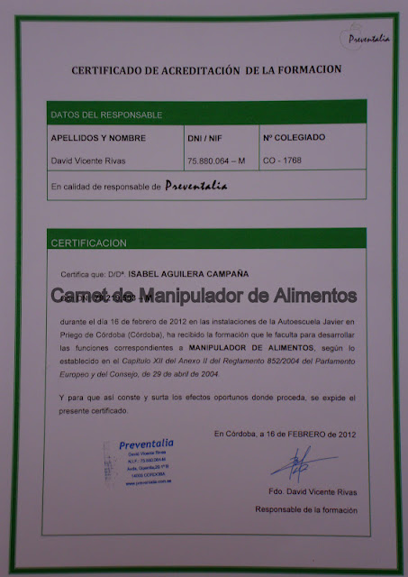 Certificado de Manipulador de Alimentos
