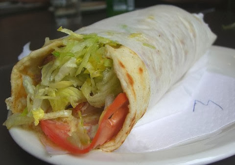 Mixed Lamb and Chicken Wrap with Ginger Sauce and Tomatoes
