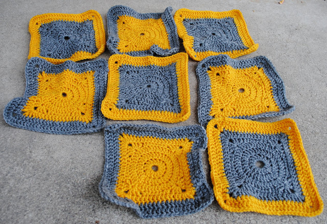 granny squares in grey and yellow
