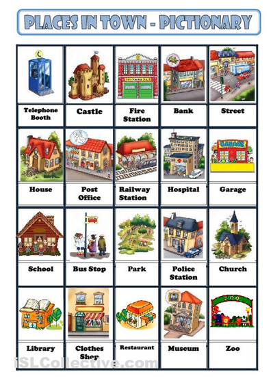 LEARNING ENGLISH WITH MISS VERu00d3NICA: PLACES IN A CITY