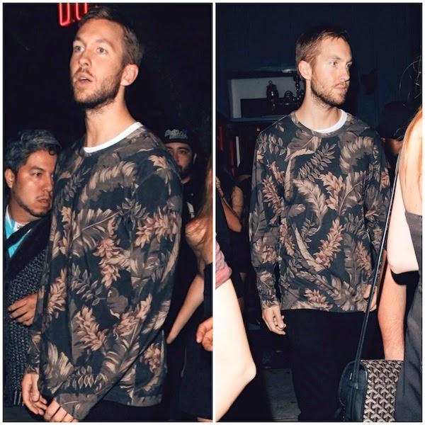Calvin Harris Dries Van Noten floral print sweatshirt sweater Dominick's West Hollywood June 2014