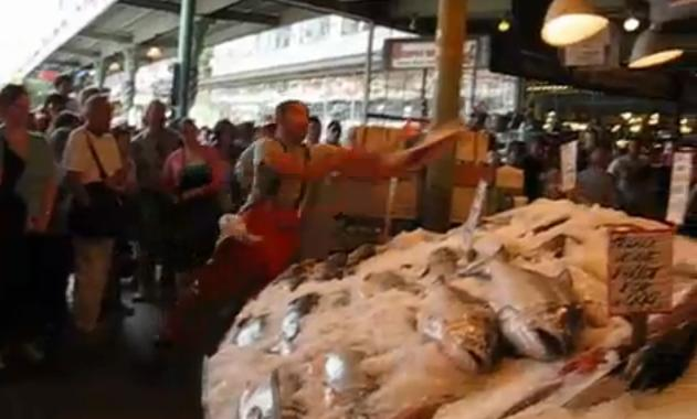 Flying fish in pike place market seattle media spin for Flying fish seattle