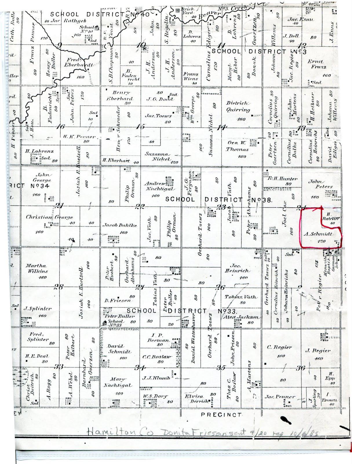 Nebraska hamilton county - Hamilton County Map Of Abraham S Land On The Border Of Hamilton And York Counties