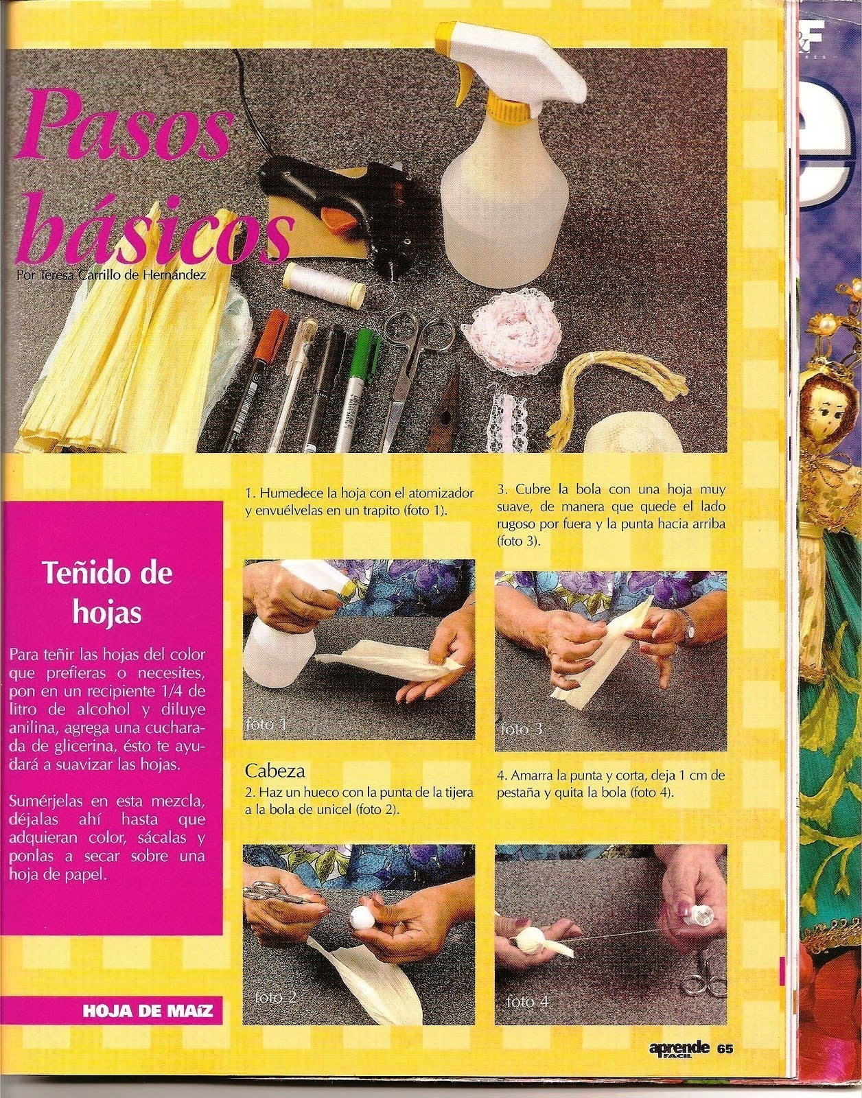 Manualidades y artesanias Salticoz: teñir las hojas de maiz