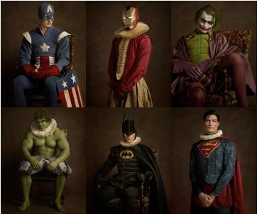 Super heróis em pintura flamenca