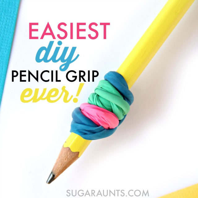Make a DIY Pencil Gripper with balloons to encourage a tripod grasp and proprioceptive input during handwriting.