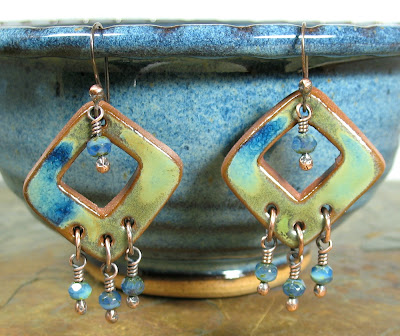 Libellula Jewelry:  Terracotta & Czech glass earrings