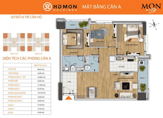 Căn A 86m2 chung cư HD Mon City