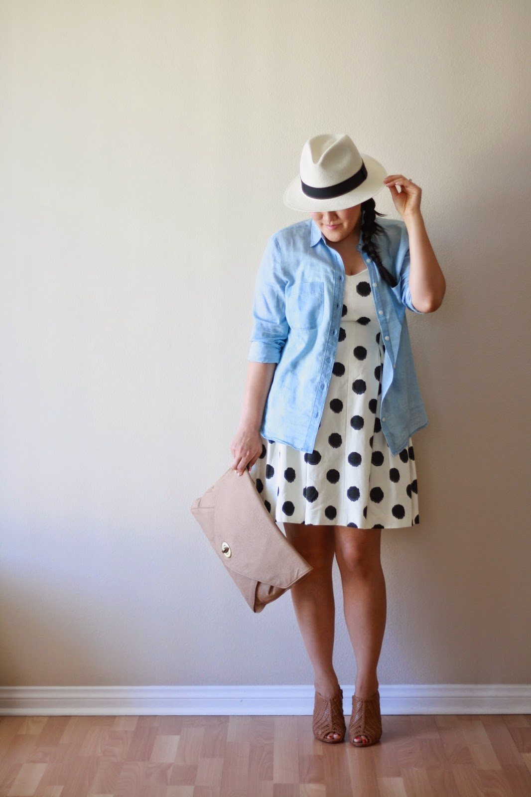 blogger, style blogger, fashion blogger, california blogger, ann taylor, loft, loft girl, polka dot dress, chambray shirt, jcrew, panama hat