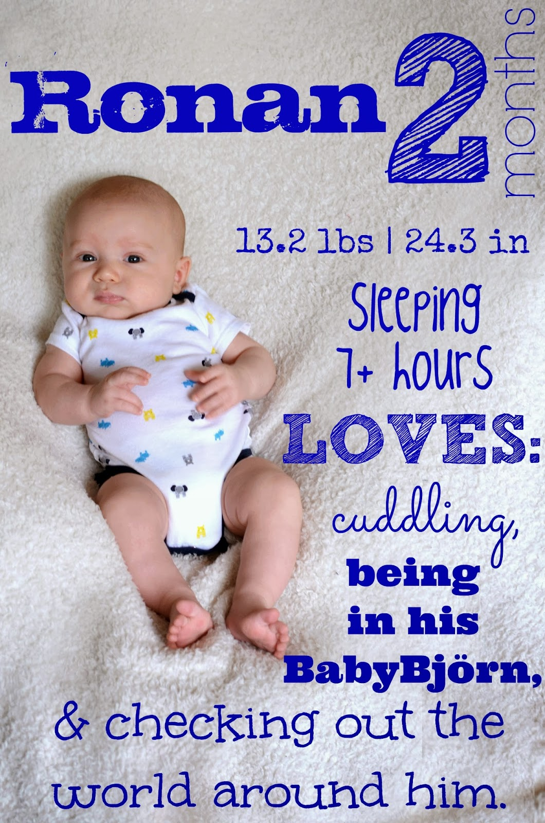 On average, a 3 month old baby is usually about 23 to 24 inches long and weighs around 12 to 14 pounds. Keep in mind these are only estimates, some babies are smaller and some are larger. 2.