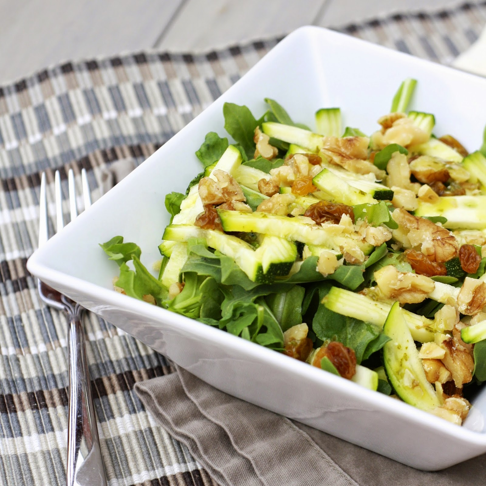 Zucchini and Walnut Arugula Salad with Basil Lemon Vinaigrette | The Sweets Life