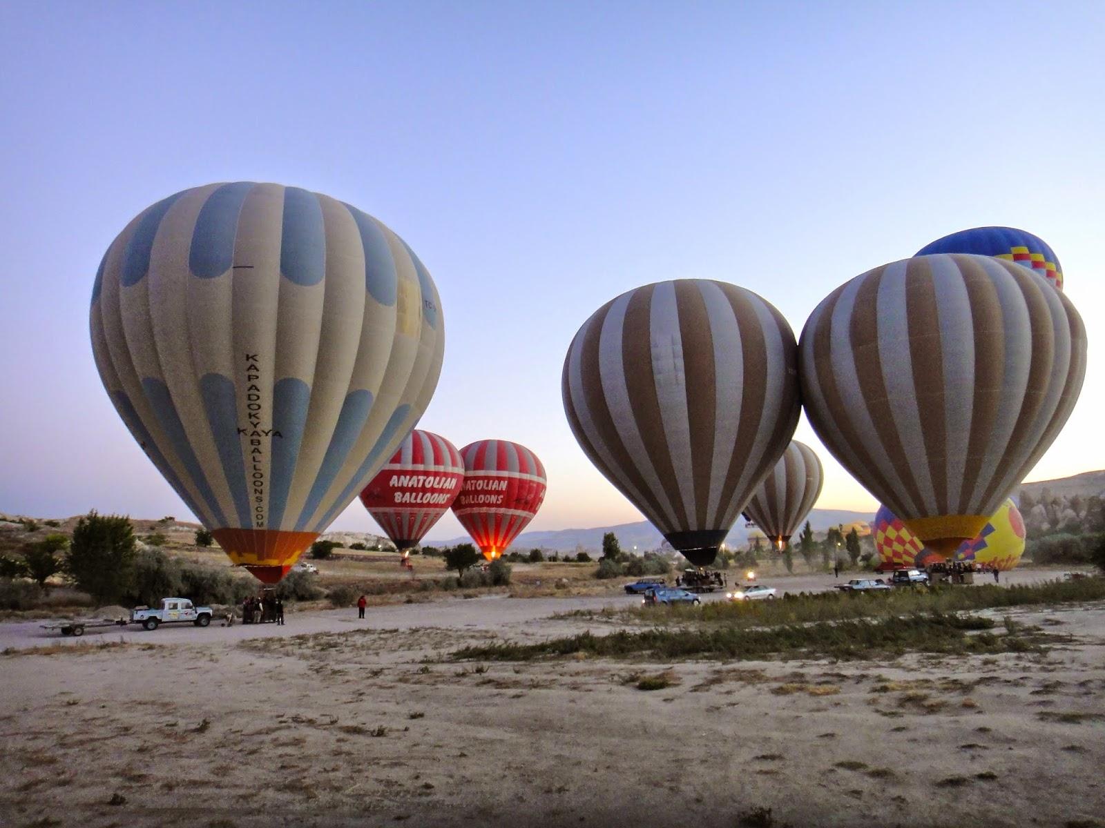 Hot Air Balloons for boarding at Cappadocia Turkey