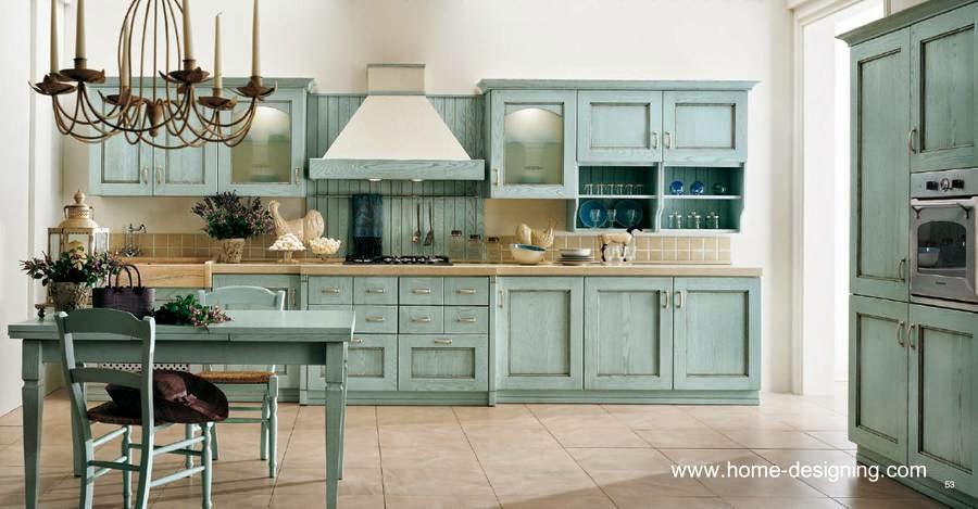 Cocina diseño Clásico en color celeste