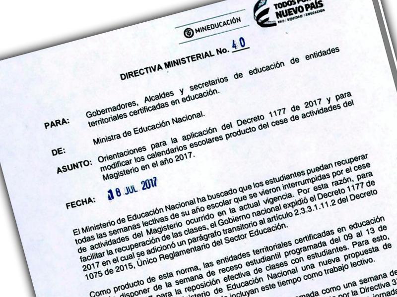 Directiva Ministerial No.40, 18 de julio de 2017