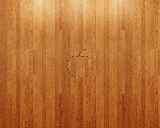 Apple on wood wallpaper
