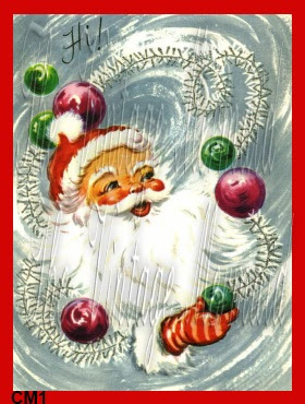 vintage santa juggling vintage christmas ornaments by vintagemermaidsfabricblocks.com