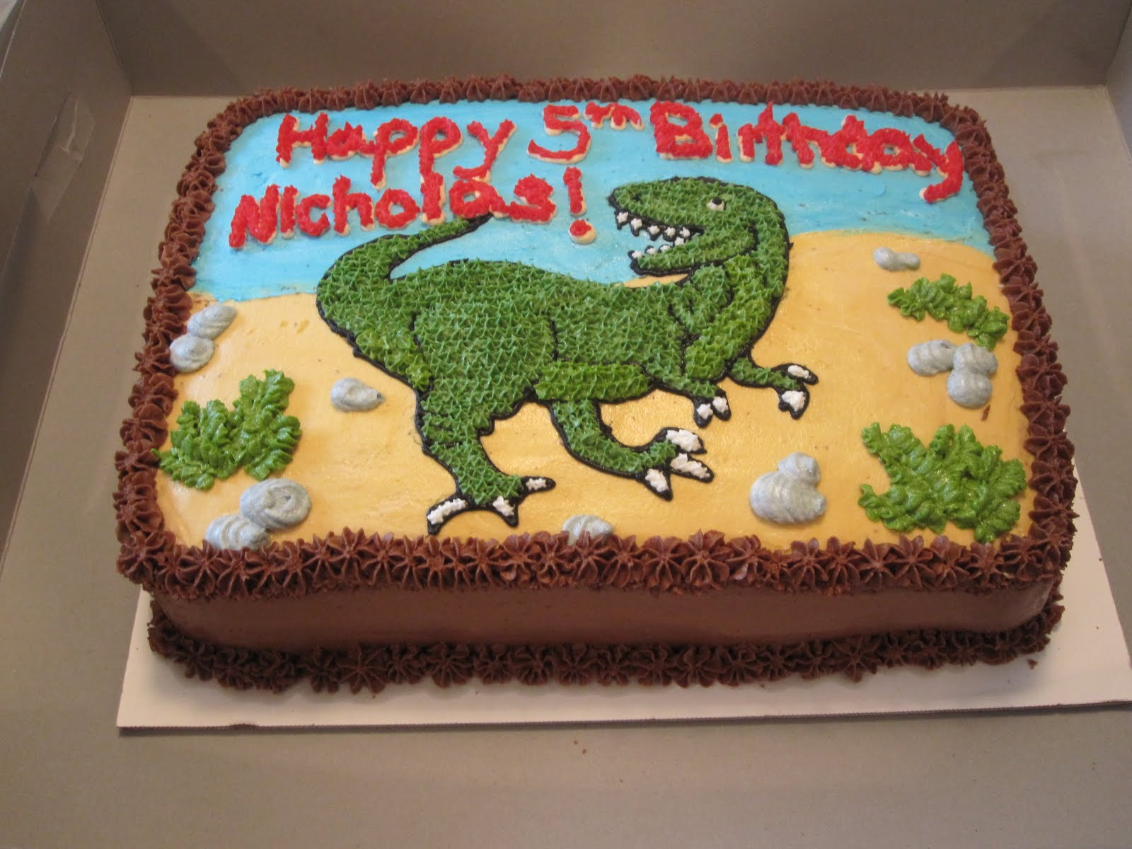 The Perfectionist Confectionist Charlie TRex Birthday Cake Green