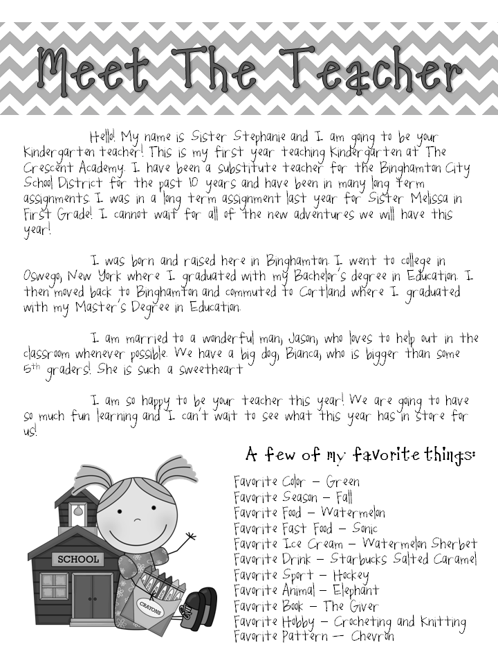 meet the teacher letters
